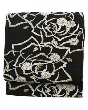 振袖用袋帯0033 黒 バラ