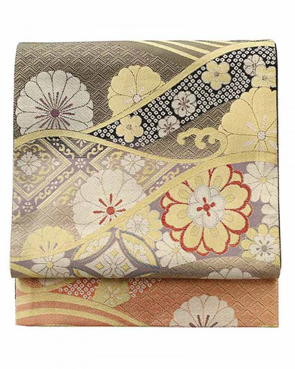 振袖用袋帯0043 金 桜/波