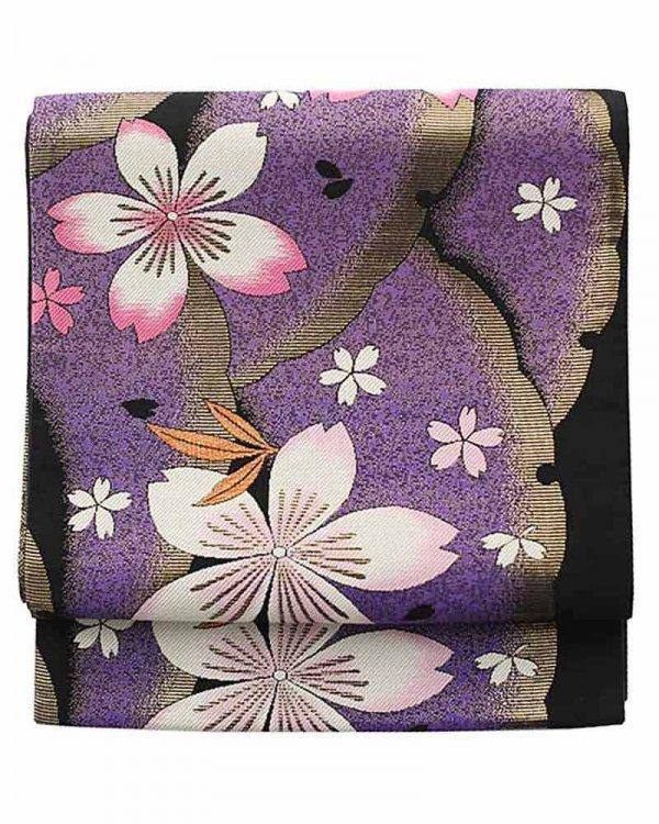 振袖用袋帯0040 黒 雪輪に桜