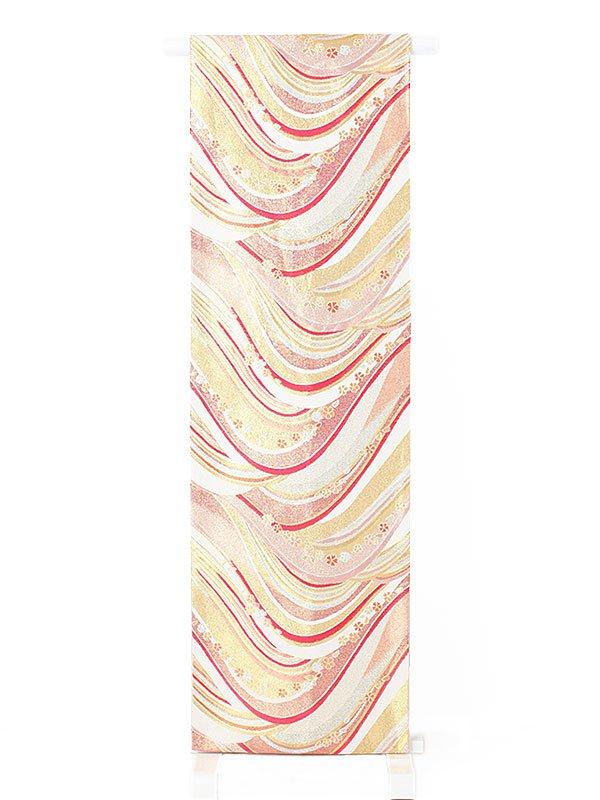 振袖用袋帯0013 銀 桜/波