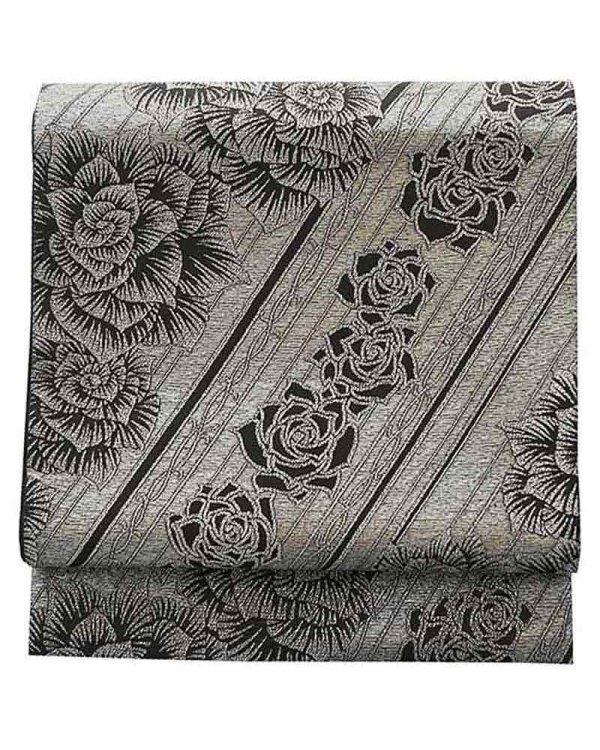 振袖用袋帯0035 銀 バラ
