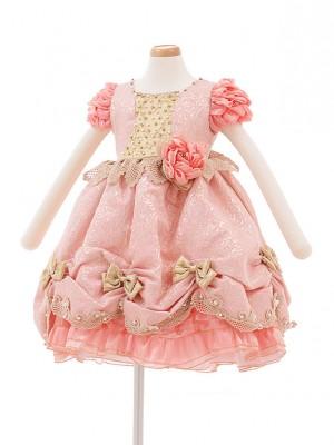 子どもドレス 3028 ピンク×ゴールド花