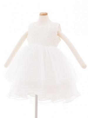 子どもドレス 3026 ホワイトチュール バラ