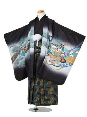 七五三(5男袴)5038 黒 兜/小槌