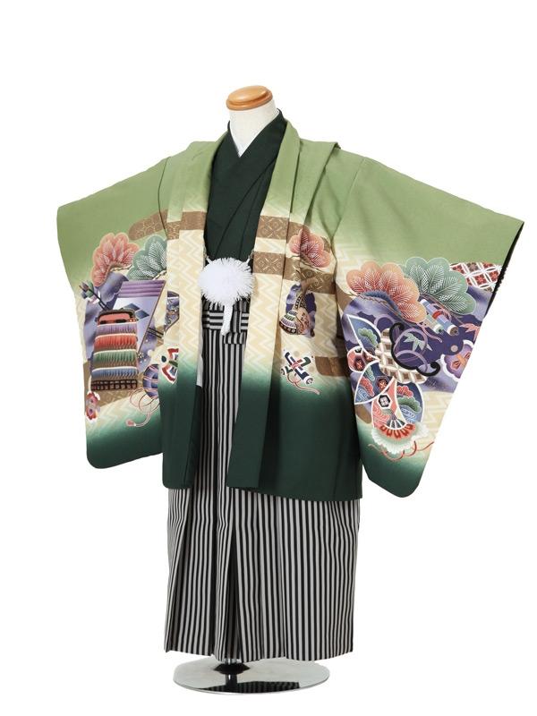 七五三(5男袴)5005 緑 兜/松