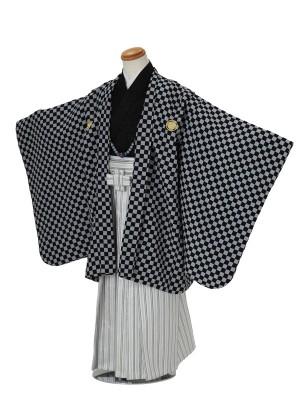 七五三(5男袴)5006 黒×グレー 格子