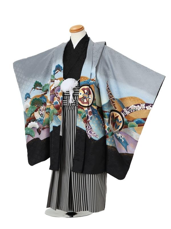 七五三(5男袴)5003 グレー×黒 兜/松