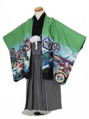 七五三(3男袴)3010 緑 鷹/波/松