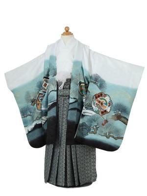 七五三(5男袴)5056 白青 シルバー 鷹に松