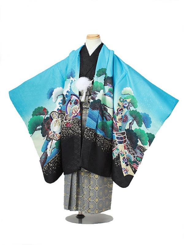 七五三(5男袴)5019 水色×黒 鷹/松/波