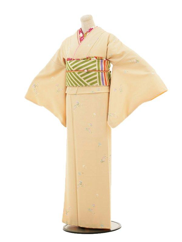 【コーデ】小紋0005 ベージュ 花とうさぎ