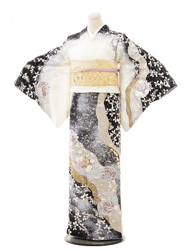 訪問着レンタル495桂由美白×黒花丸