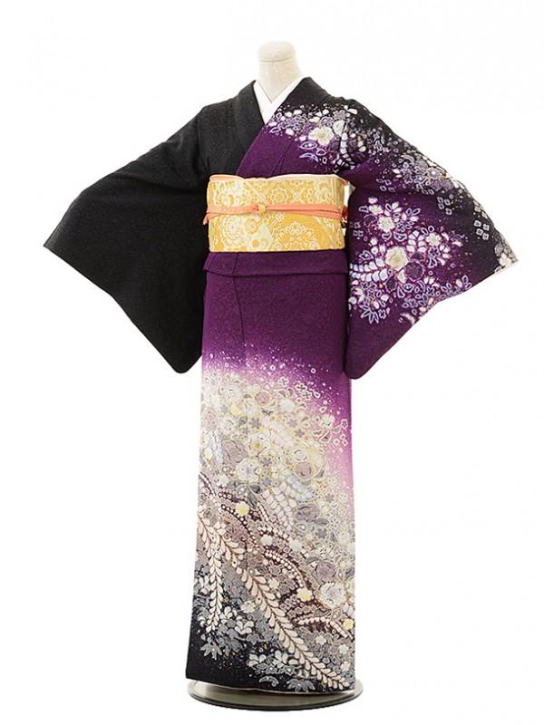 訪問着レンタル498黒×紫辻が花