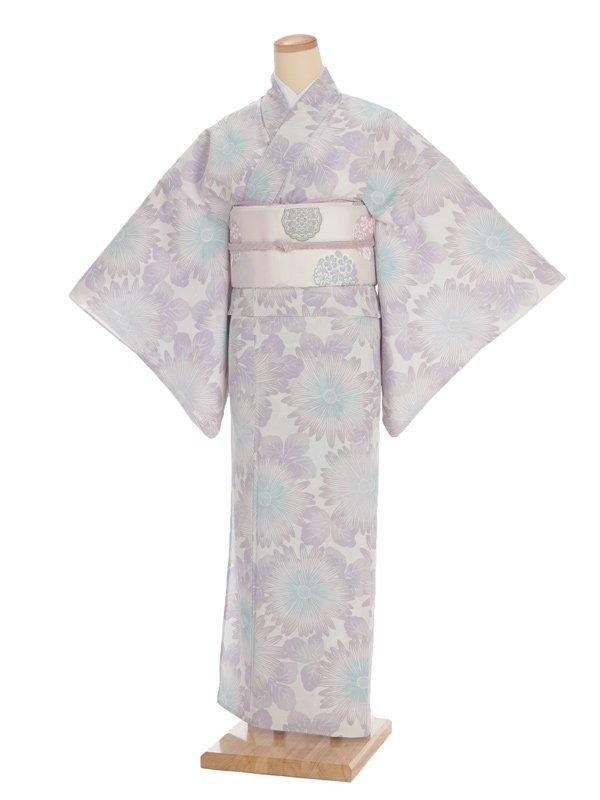 夏訪問着t0039薄紫に大花(化繊(絽))
