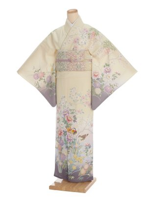 夏訪問着t0089 JAPAN STYLE クリーム色花(化繊