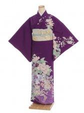 夏訪問着t0094 JAPAN STYLE 紫地花(化繊(