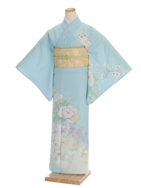 夏訪問着t0093 JAPAN STYLE 水色花(化繊(