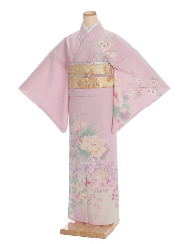 夏訪問着t0096 JAPAN STYLE ピンク地花(化繊