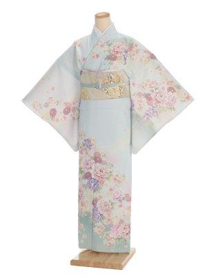 夏訪問着t0095 JAPAN STYLE 薄ブルーグレー地花