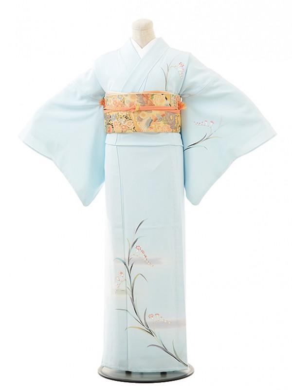夏訪問着t0508 水色忘れな草(正絹(単衣))