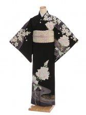 夏訪問着t0090 JAPAN STYLE 黒地バラと桜(化