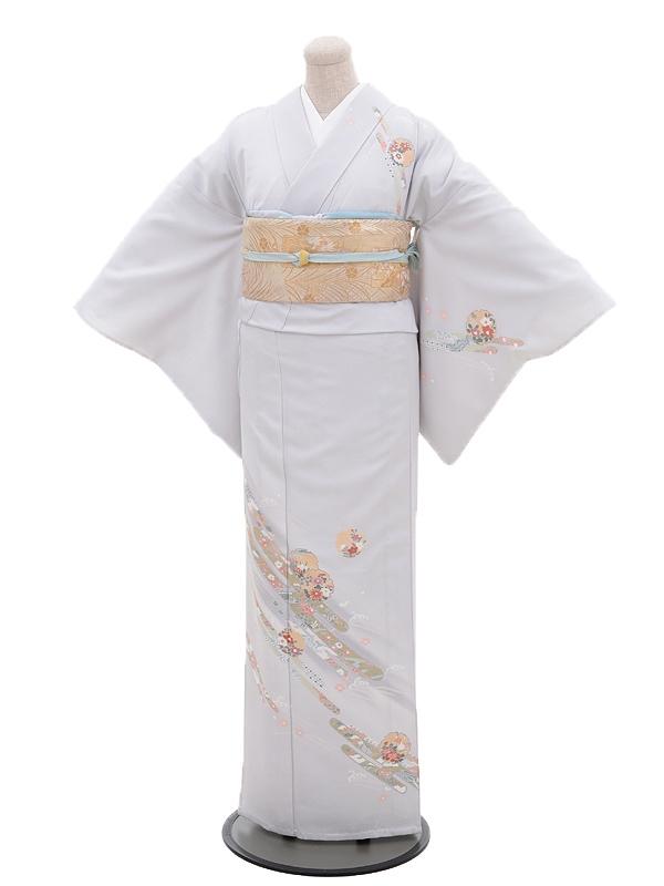 夏訪問着t0012グレー流れ花(化繊(単衣))