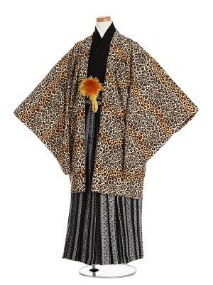 小学生卒業袴051L紋付黄黒豹柄/黒縞更紗