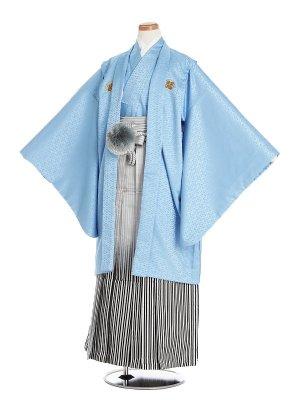 小学生卒業袴男052L水色菱/銀白黒ぼかし