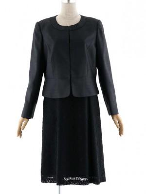 女性スーツ 0011 セレモニーワンピーススーツ 黒 15号