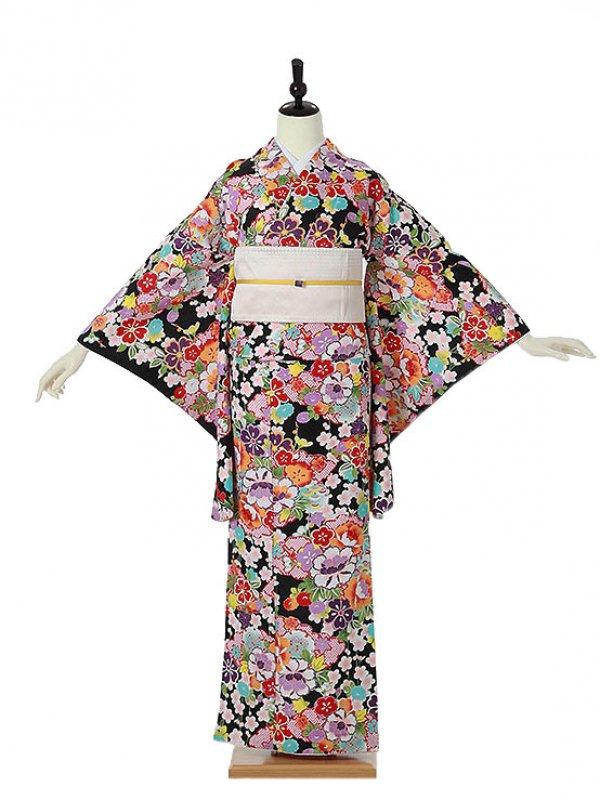 小紋0011 黒 四季の花
