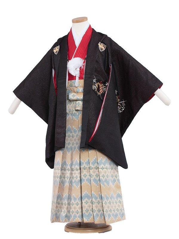 七五三・卒園式袴レンタル(5男)5135 黒ラメ/ひさかた
