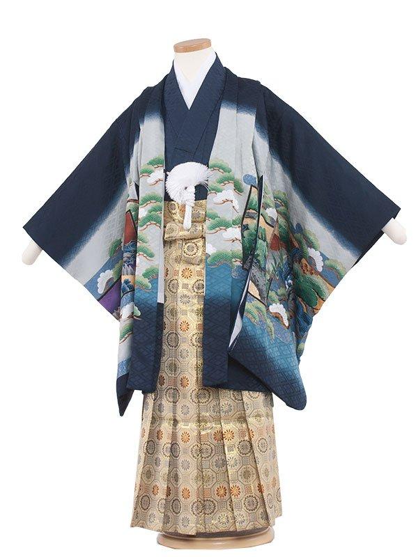 七五三・卒園式袴レンタル(5男)5124 紺/鷹に御所車