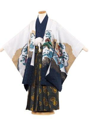 七五三レンタル(5歳男袴) 5139 白/鷹に宝船