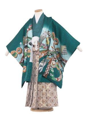 七五三レンタル(5歳男袴) 5160 緑/兜と束熨斗