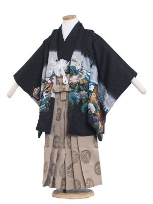 七五三レンタル(5歳男袴) 5071 黒/兜と松