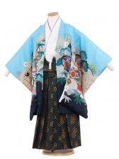 七五三(5男)5145-2 水色/兜に巻物60cm