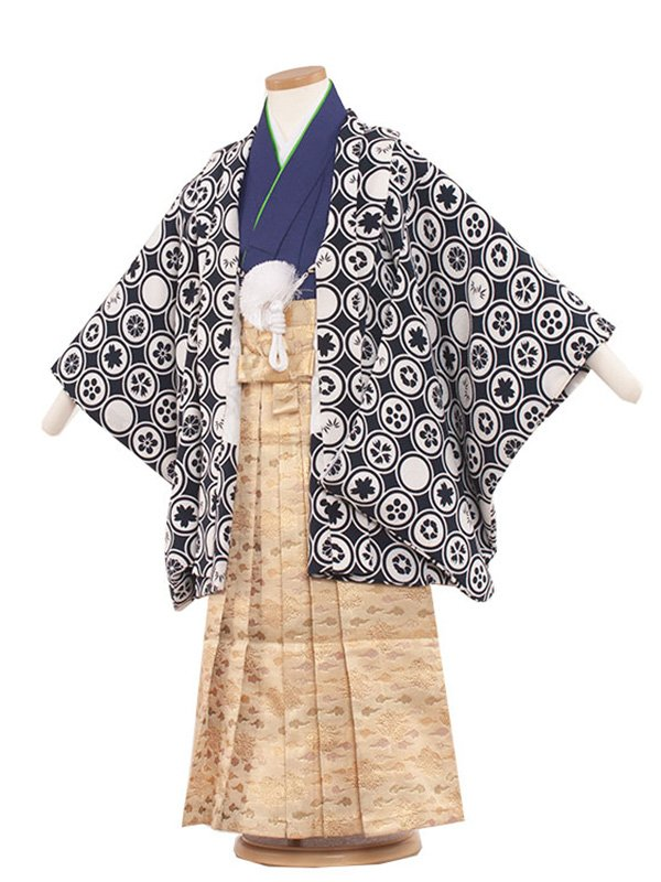 七五三・卒園式袴レンタル(5男)5157 紺/丸模様