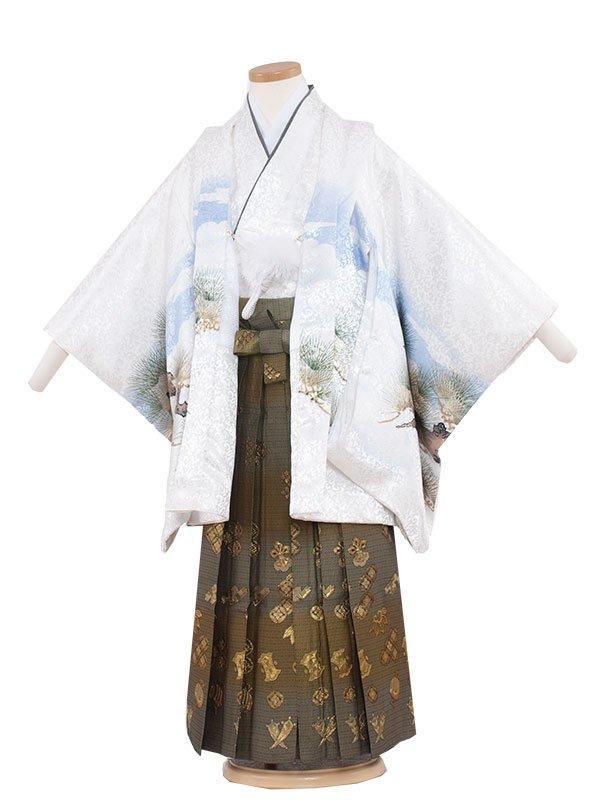 七五三・卒園式袴レンタル(5男)5211 白色×鷹