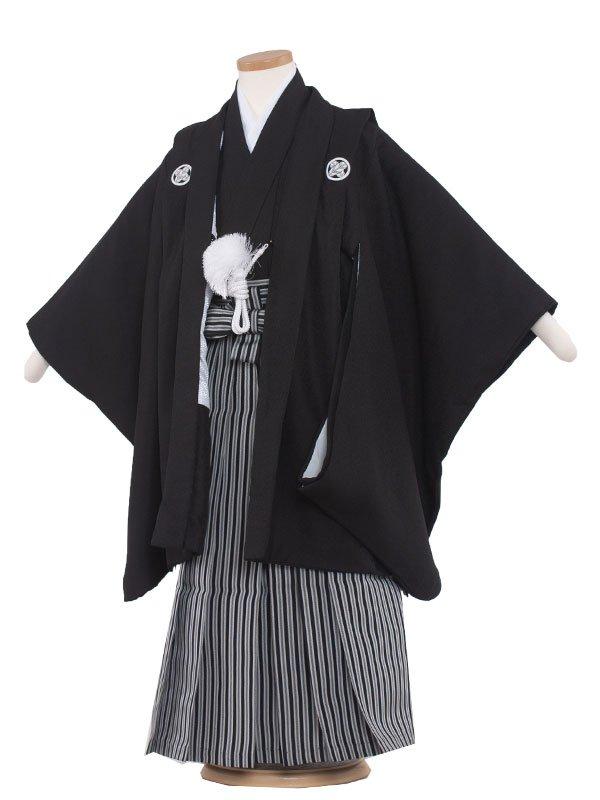 七五三レンタル(5歳男の子袴) 5166 黒紋付 白黒子持ち縞