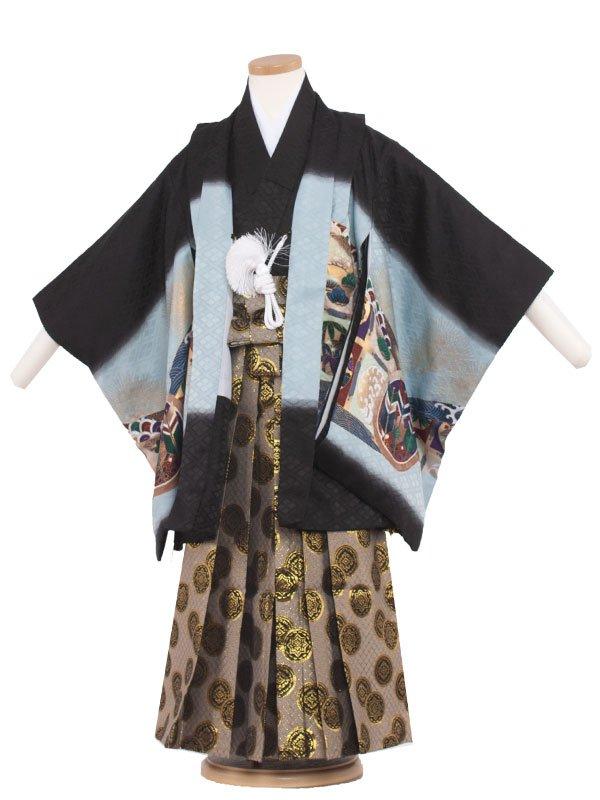七五三・卒園式袴レンタル(5男)5077 黒色/鷹と金松葉