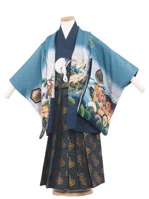 七五三レンタル(5歳男袴) 5083 青/鷹と波