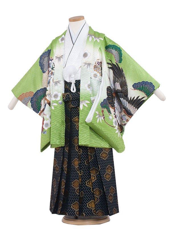 七五三・卒園式袴レンタル(5男)5162 緑色/鷹と松竹梅