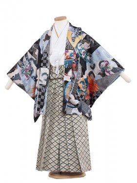 七五三(5男)5148 黒/兜に寿 袴60cm