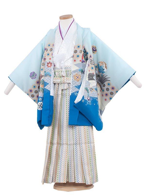 七五三・卒園式袴レンタル(5男)5208 水色×鷹