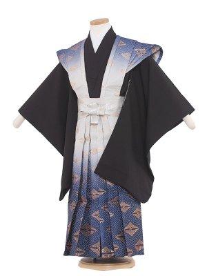 七五三レンタル(5歳男袴) 5027 黒/青のぼかし裃