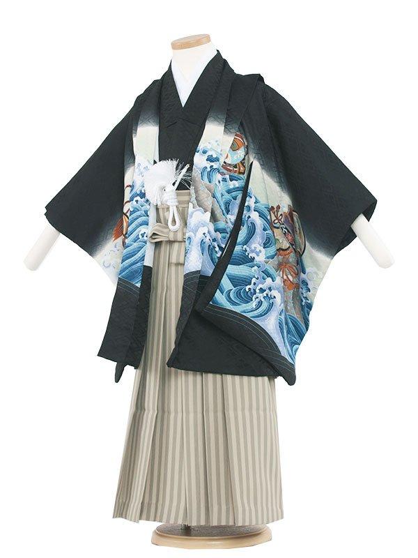 七五三・卒園式袴レンタル(5男)5033 黒/鷹と荒波