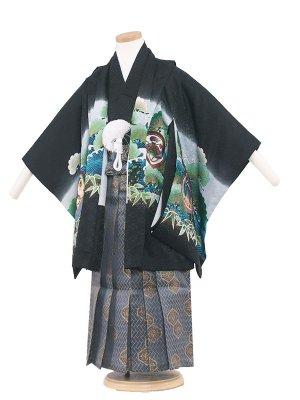 七五三レンタル(5歳男袴) 5084 黒/鷹と緑松
