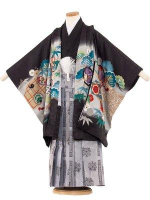 七五三レンタル(5歳男袴) 5125 黒/鷹に巻物