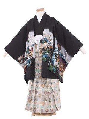 七五三レンタル(5歳男袴) 5098-4 黒/兜と波