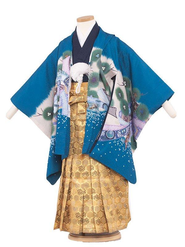 七五三・卒園式袴レンタル(5男)5051 水色/刺繍兜